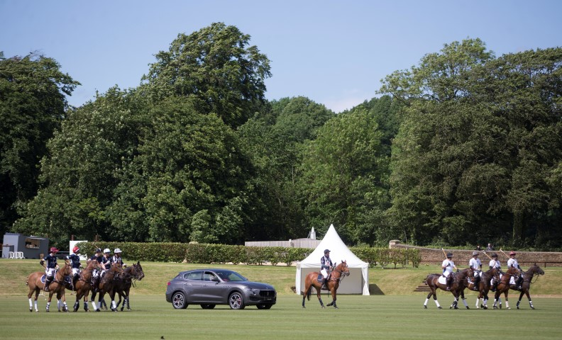 Maserati Royal Charity Polo Trophy 2017 at  Beaufort Polo Club Downfarm House Westonbirt Tetbury Gloucestershire UK. Parade